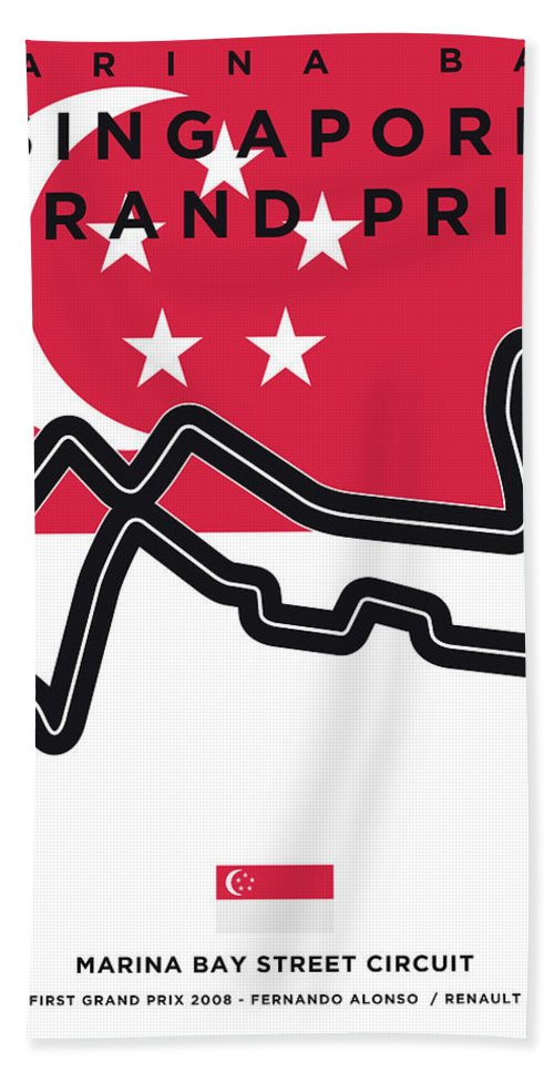 Singapore Beach Towel featuring the digital art My Singapore Grand Prix Minimal Poster by Chungkong Art