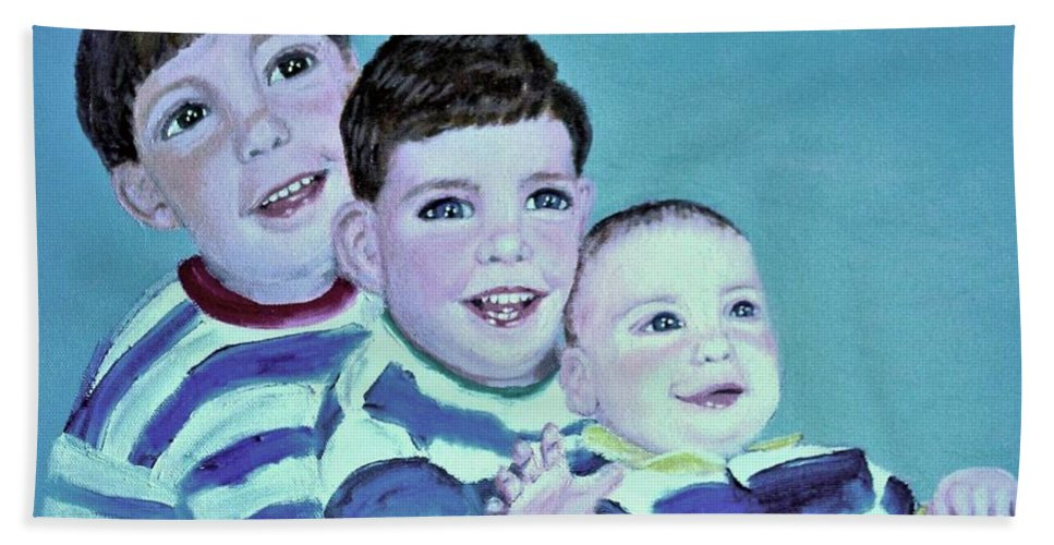 Children Beach Sheet featuring the painting My Three Sons by Laurie Morgan