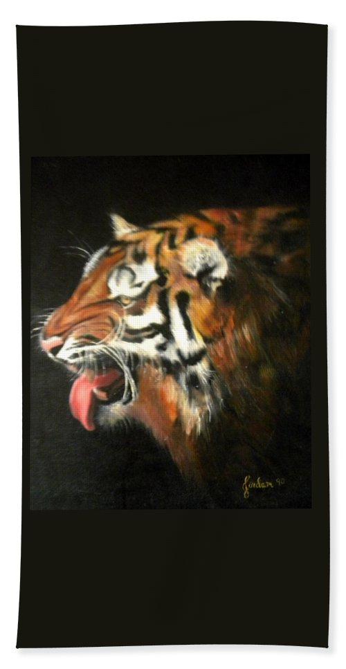 Tiger Beach Towel featuring the painting My Tiger - The Year Of The Tiger by Jordana Sands