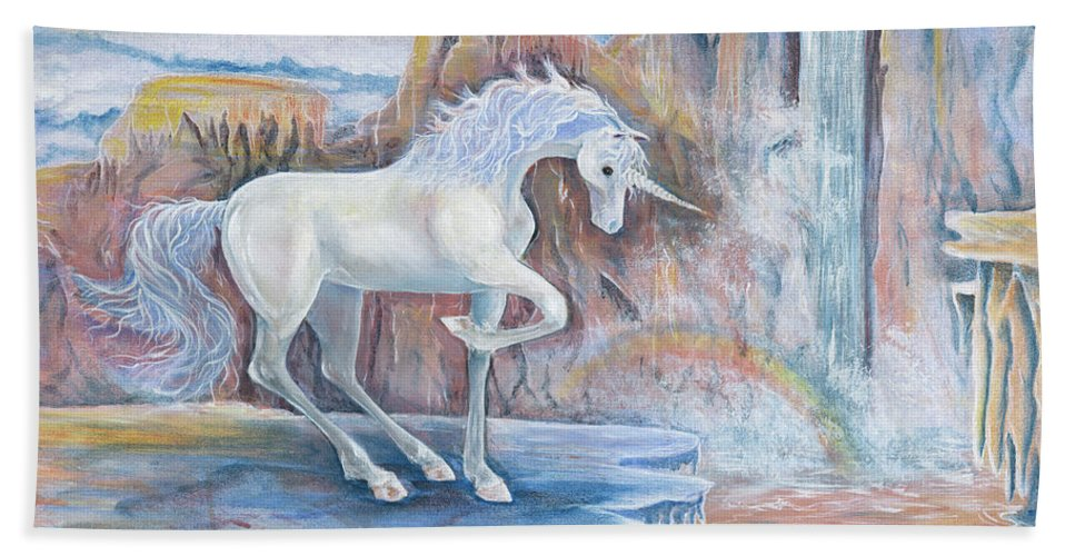 My Unicorn Beach Towel featuring the painting My Unicorn by Sheri Jo Posselt