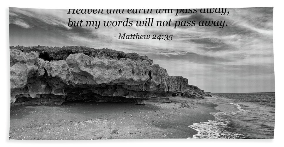 Landscape Beach Towel featuring the photograph My Words Will Not Pass Away by Kim Warden
