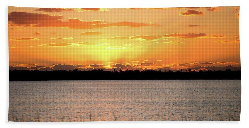 Sunset Beach Towel featuring the photograph Myakka Sunset by Leona Strong
