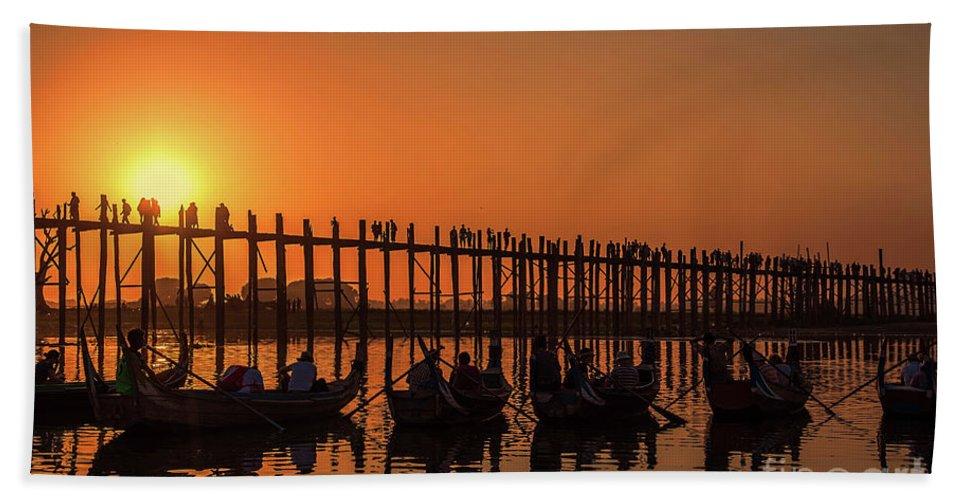 Myanmar Beach Towel featuring the photograph Myanmar. Taungthaman Lake. U Bein Bridge. Sunset. by Vadim K