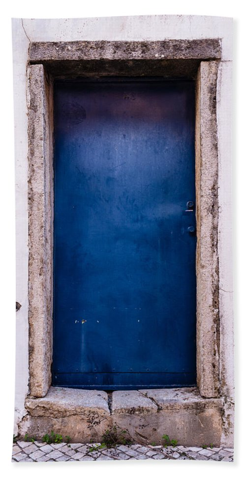Mysterious Beach Sheet featuring the photograph Mysterious Blue Door by Marco Oliveira