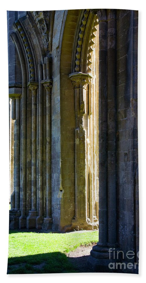 Glastonbury Abbey Beach Towel featuring the photograph Mystic Avalon by Heiko Koehrer-Wagner