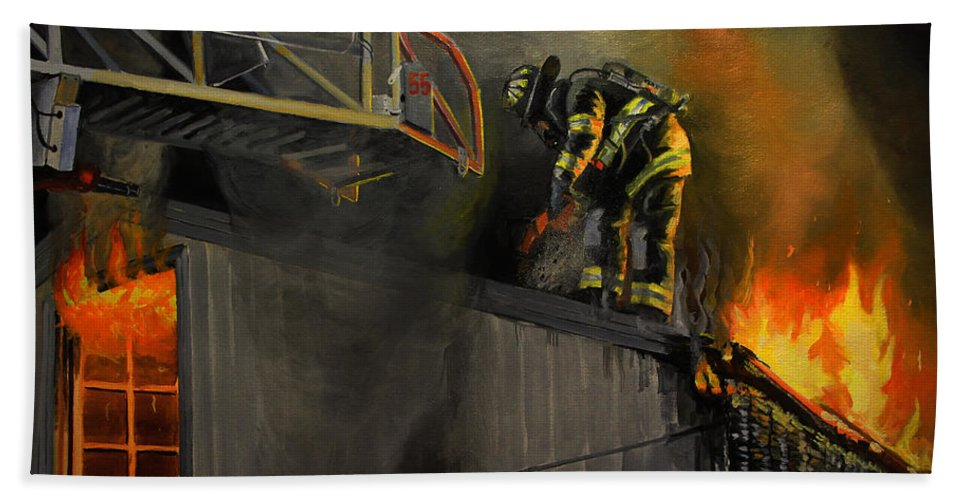 Firefighting Beach Towel featuring the painting Mystic Fire by Paul Walsh