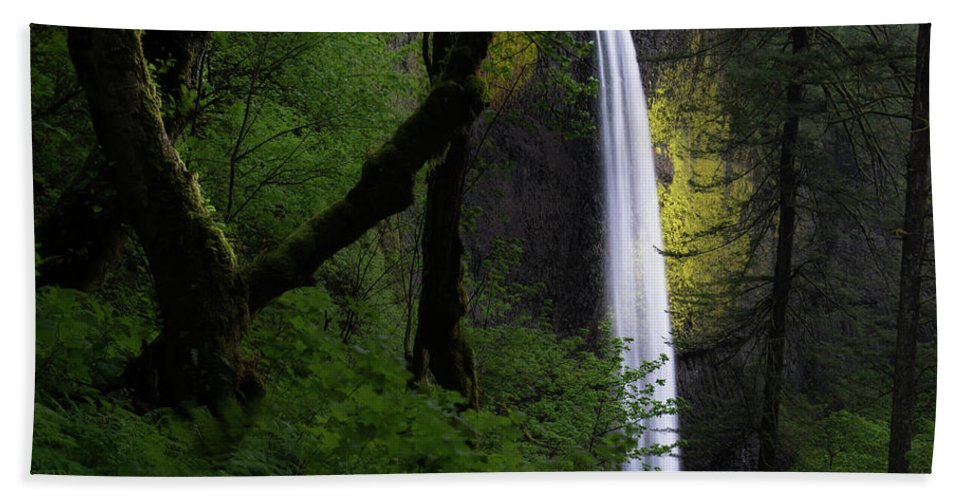 National Park Beach Towel featuring the photograph Mystical Waterfall by Larry Marshall