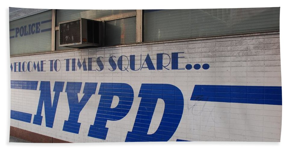 Nypd Beach Towel featuring the photograph N Y P D Blue by Rob Hans