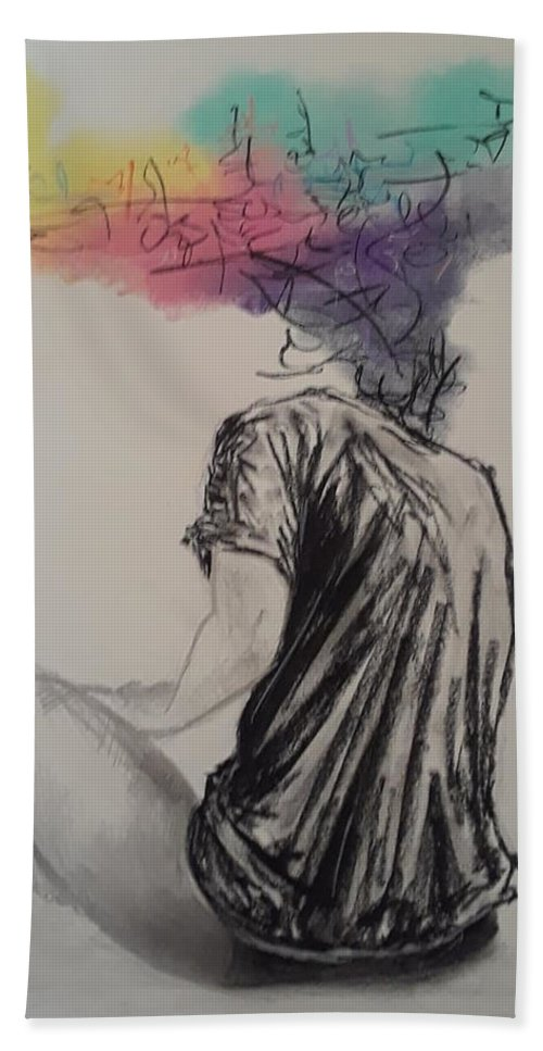 Charcoal Beach Towel featuring the drawing na by Marcus Arceneaux