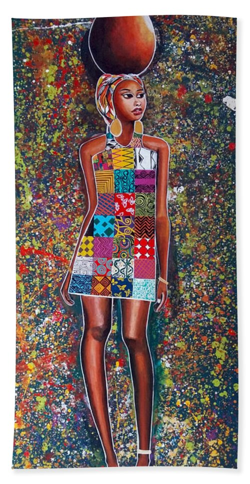Beach Towel featuring the painting Nabanda by Jethro Longwe