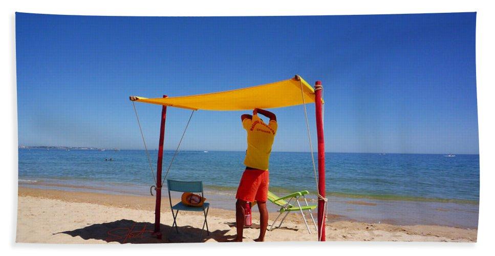 Life Guard Beach Towel featuring the photograph Nadador Salvador by Charles Stuart