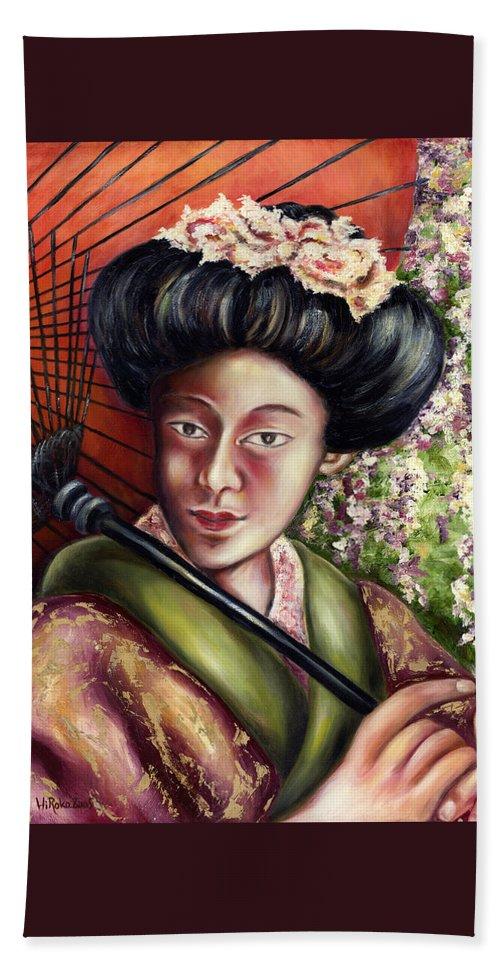 Japanese Beach Towel featuring the painting Nadeshiko by Hiroko Sakai