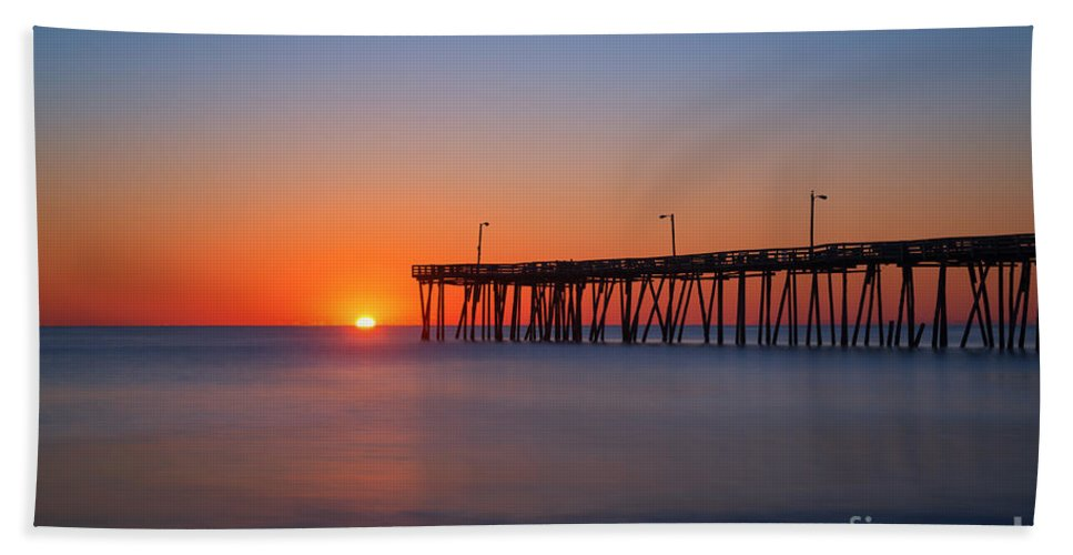 Nags Head Fishing Pier Beach Towel featuring the photograph Nags Head Fishing Pier Sunrise by Michael Ver Sprill