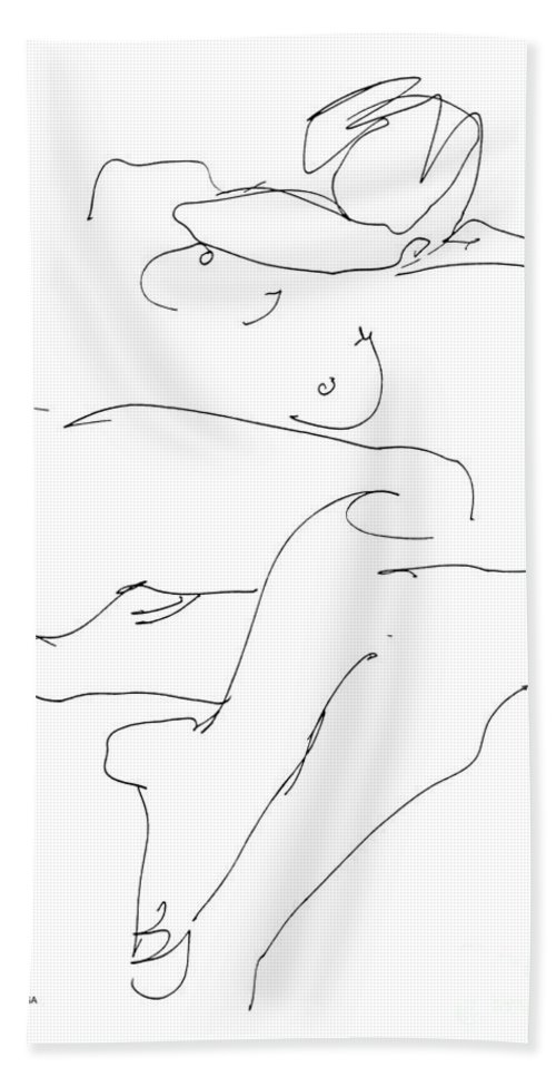 Females Beach Towel featuring the drawing Naked-female-art-21 by Gordon Punt