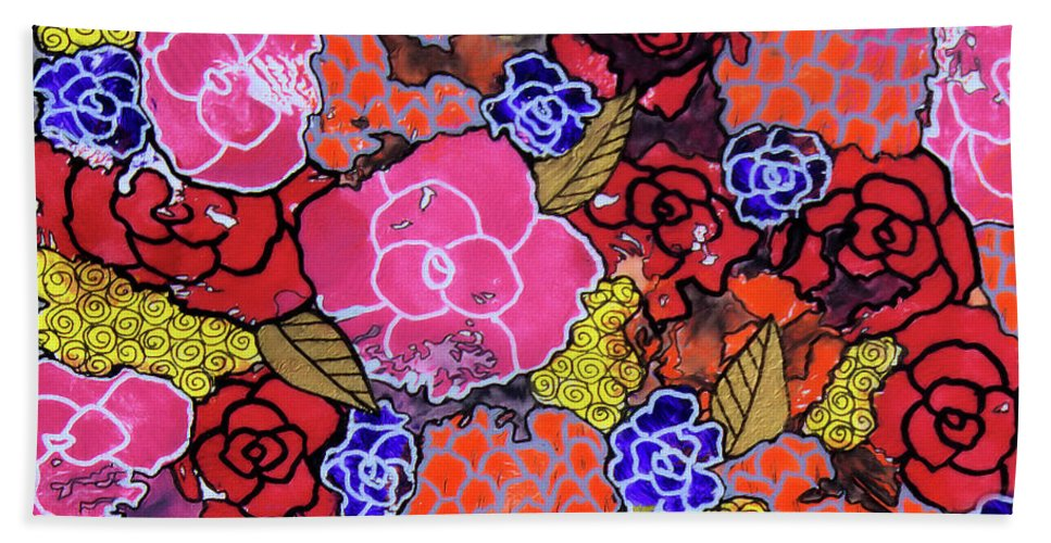 Floral Beach Towel featuring the painting Nala's Flowers by Sarena Mantz