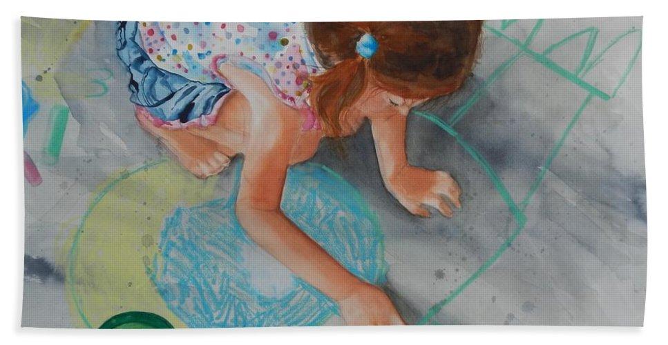Child Beach Towel featuring the painting Nana's Sidewalk Artist 2 by Jean Blackmer