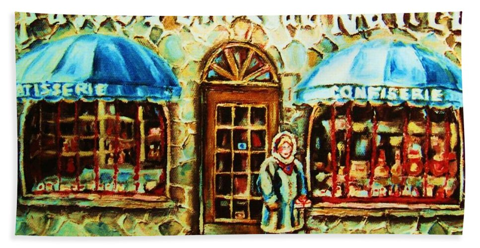 Bakery Shops Beach Towel featuring the painting Nancys Fine Pastries by Carole Spandau