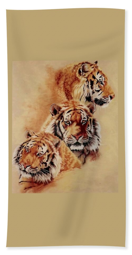 Tiger Beach Towel featuring the pastel Nanook by Barbara Keith