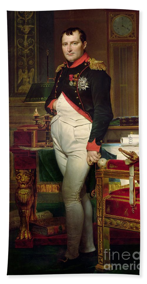 Napoleon Beach Towel featuring the painting Napoleon Bonaparte In His Study At The Tuileries, 1812 by Jacques Louis David