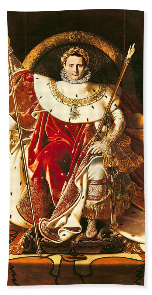 Napoleon Beach Towel featuring the painting Napoleon I On The Imperial Throne by Ingres