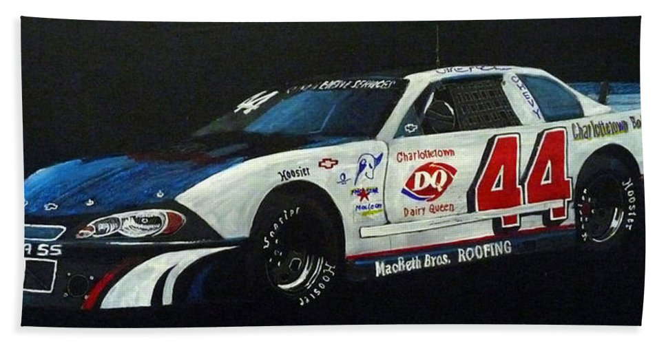 Nascar Beach Towel featuring the painting Nascar No44 by Richard Le Page