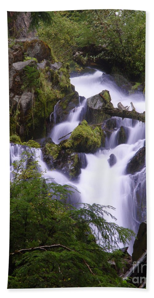 Waterfall Beach Towel featuring the photograph National Creek Falls 05 by Peter Piatt