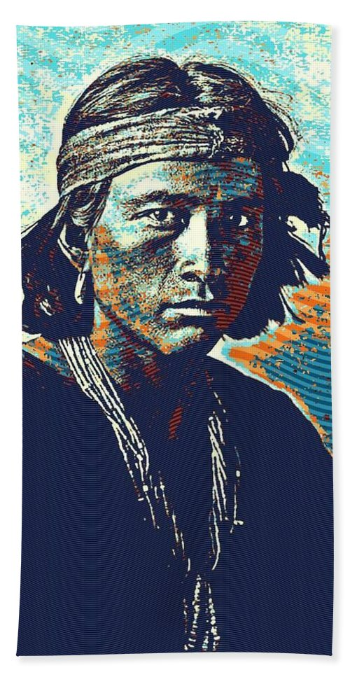 97b3472dbaf Native Beach Towel featuring the painting Native American Indian Portrait  Profile Series - Navajo Youth Poster