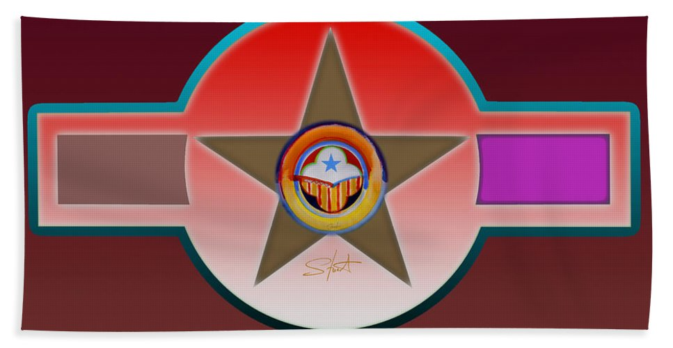 Insignia Beach Towel featuring the painting Native American Red by Charles Stuart