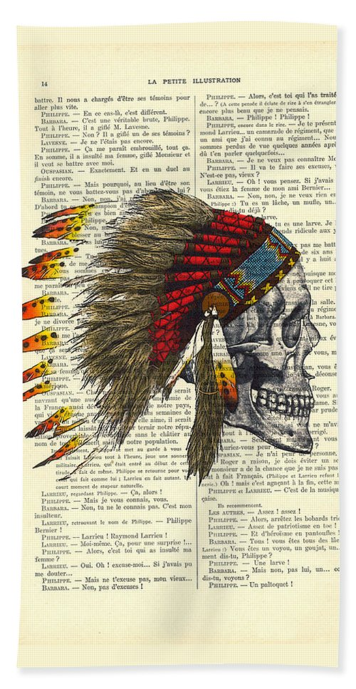 Native American Beach Towel featuring the digital art Native American Skull by Madame Memento