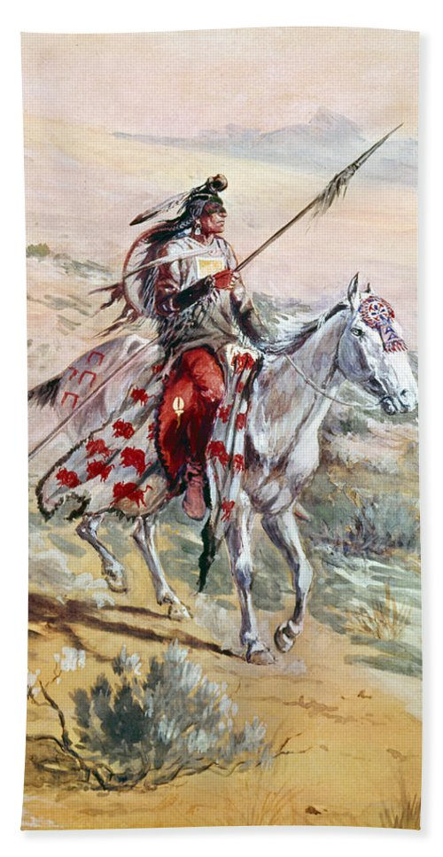 1906 Beach Towel featuring the photograph Native American Warrior by Granger