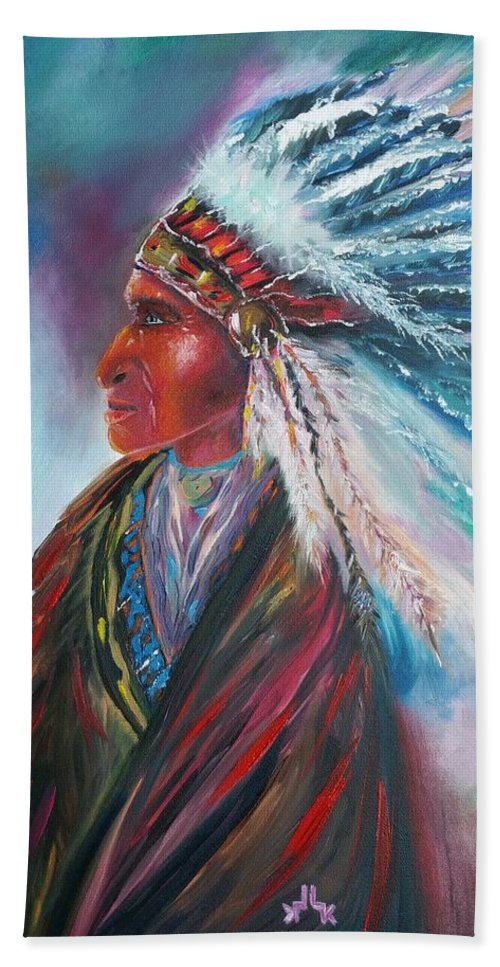 Native Beach Towel featuring the painting Native Blessings by Lettie Atkins