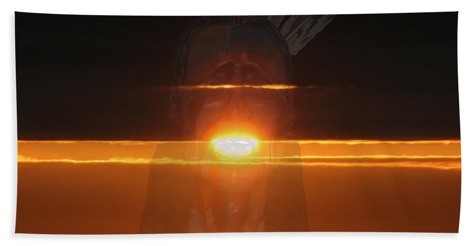 Native Chief Sun Rise Medicine Man Visions Sky Abstract Voice Ghost Spirits Beach Towel featuring the photograph Native Sun by Andrea Lawrence