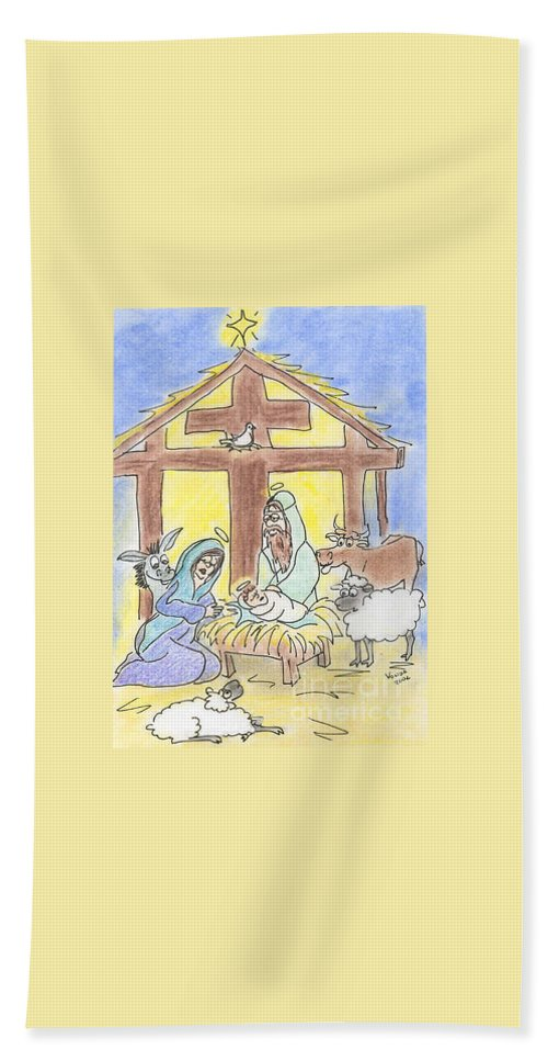 Christmas Beach Towel featuring the drawing Nativity by Vonda Lawson-Rosa
