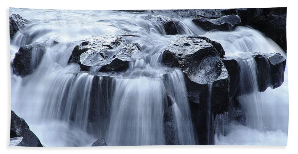 Waterfall Beach Towel featuring the photograph Natural Bridges Falls 02 by Peter Piatt