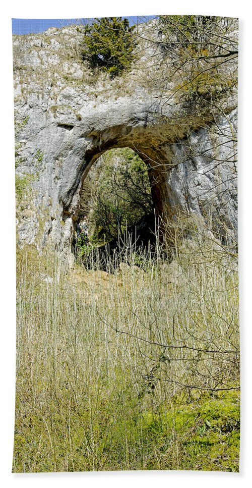 Dovedale Beach Towel featuring the photograph Natural Limestone Arch At Dove Valley by Rod Johnson