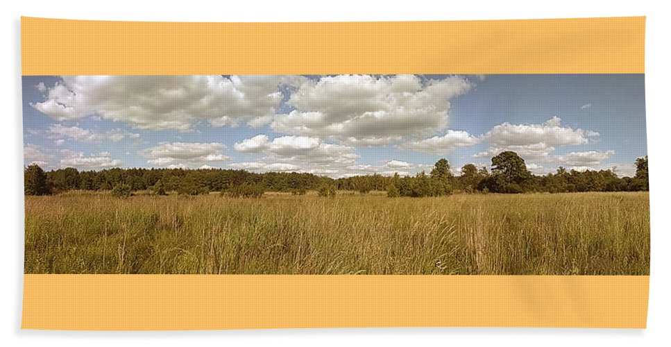 Natural Beach Towel featuring the photograph Natural meadow landscape panorama. by Arletta Cwalina