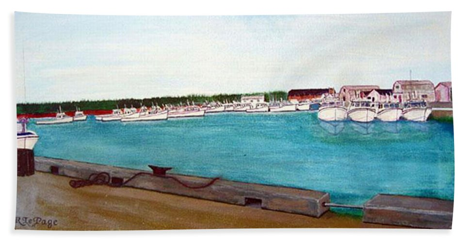 Naufrage Pei Beach Towel featuring the painting Naufrage Harbour Pei by Richard Le Page
