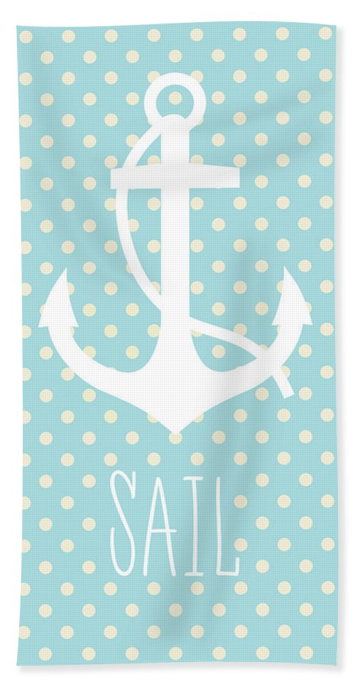Sail Beach Towel featuring the digital art Nautical Anchor by Zapista Zapista