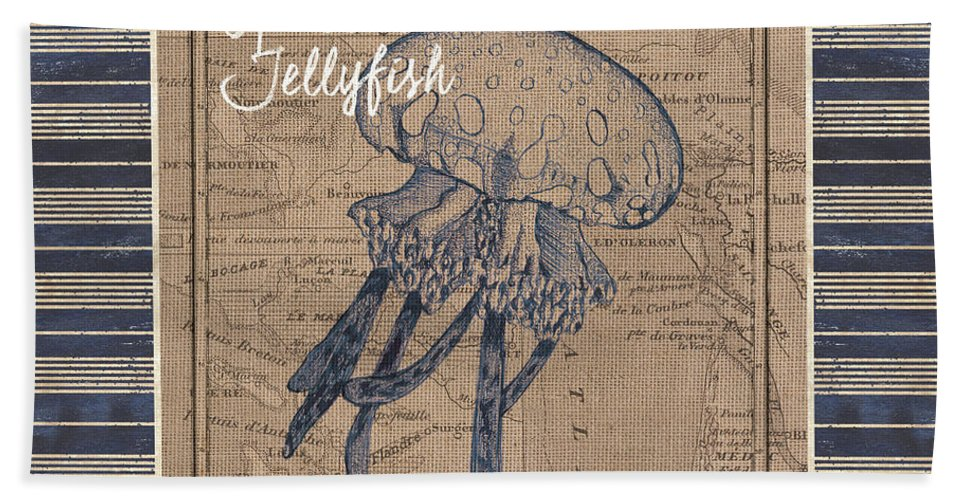 Jellyfish Beach Towel featuring the painting Nautical Stripes Jellyfish by Debbie DeWitt