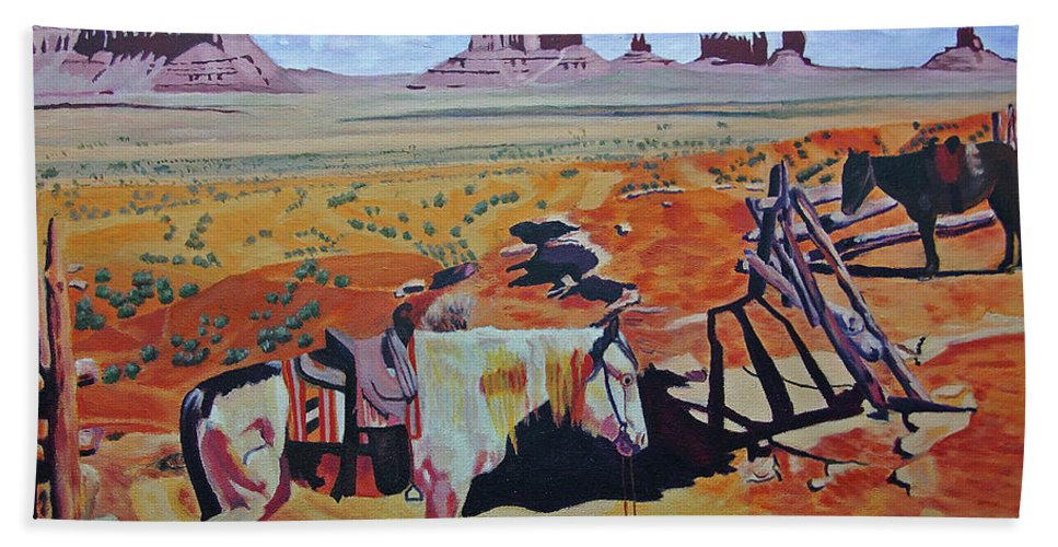 Arizona Beach Towel featuring the photograph Navajo Ponies by Rich Walter