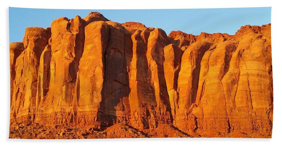 Navajo Sunrise Beach Towel featuring the photograph Navajo Sunrise by Steve Green