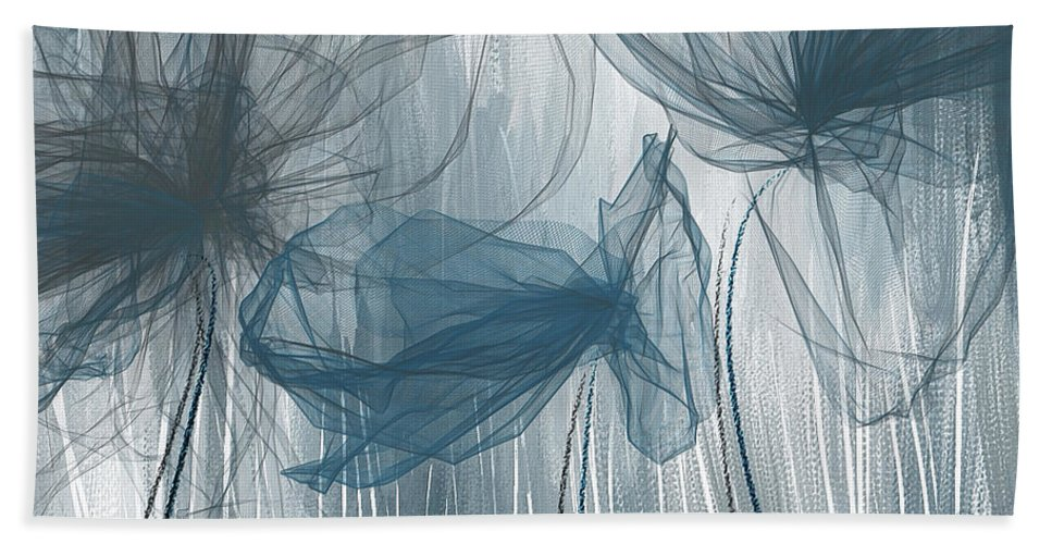95b7df91de2 Light Blue Beach Sheet featuring the painting Navy And Gray Abstract - Navy  Blue And Gray