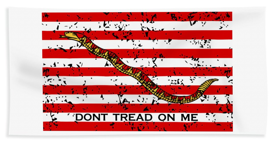 Navy Beach Towel featuring the mixed media Navy Jack Flag - Don't Tread On Me by War Is Hell Store