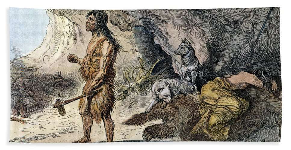 1873 Beach Towel featuring the photograph Neanderthal Man by Granger