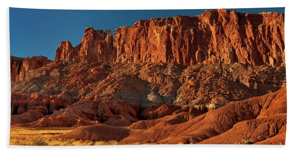 North America Beach Towel featuring the photograph Near The Fluted Wall In Capitol Reef National Park Utah by Dave Welling