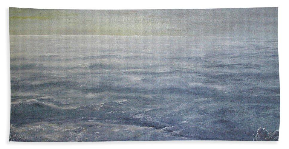 Ocean Beach Towel featuring the painting Near The Shoreline At Dusk by Sunny Franson