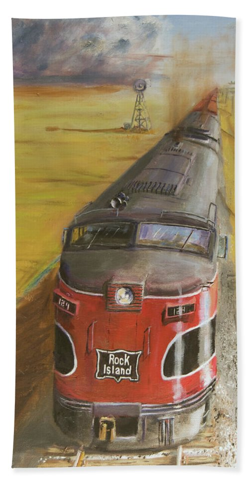 Train Beach Towel featuring the painting Near Thistle Ks by Christopher Jenkins