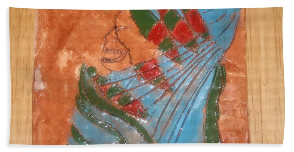 Jesus Beach Towel featuring the ceramic art Need More Candy - Tile by Gloria Ssali