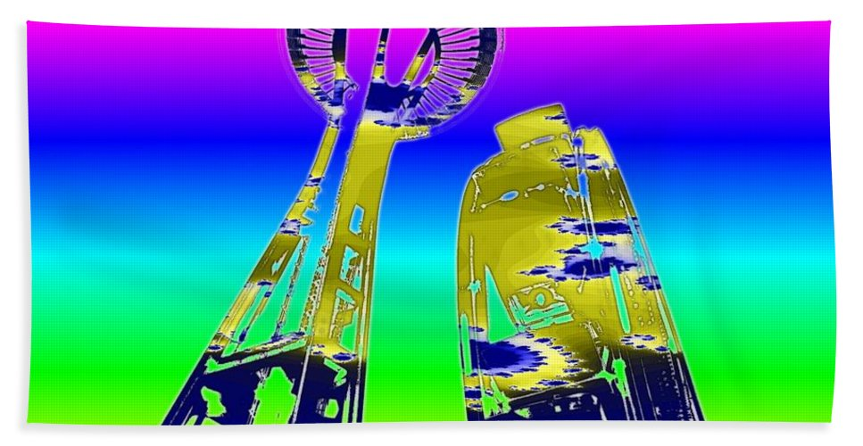 Seattle Beach Towel featuring the digital art Needle And Ferris Wheel Fractal by Tim Allen