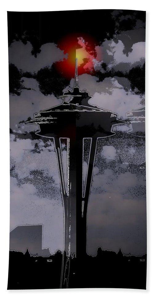 Seattle Beach Towel featuring the digital art Needle In Flux by Tim Allen